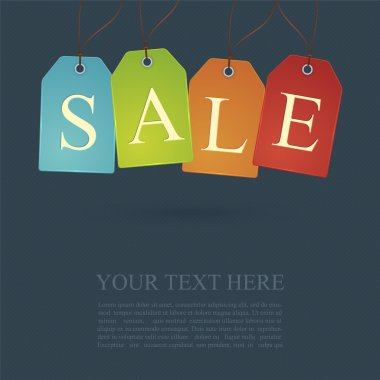 Sale poster or sign design with cloth tags