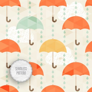 Seamless pattern with umbrella and rain.