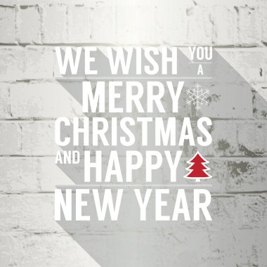 Merry Christmas and Happy New Year text on white brick stone wall.