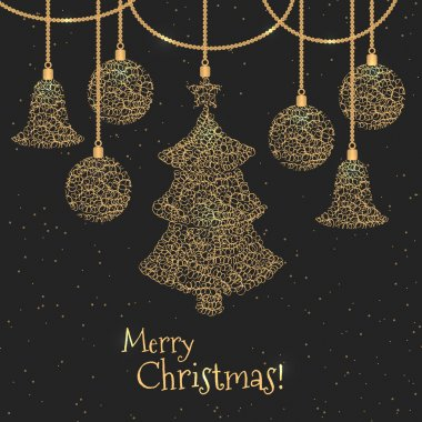 PrintMerry Christmas holiday greeting design with gold ornaments and decorations.