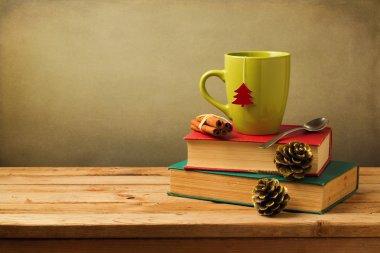 Christmas tea mug on books