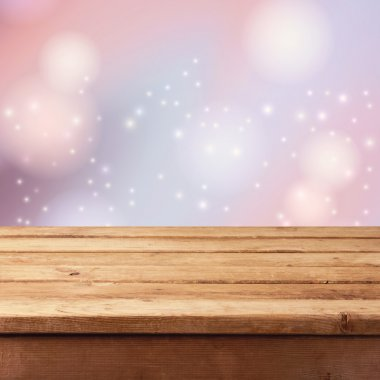 Christmas background wooden table
