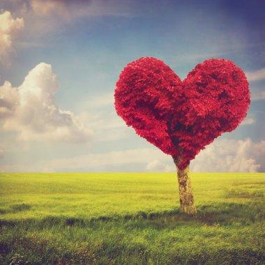 Heart shape red tree