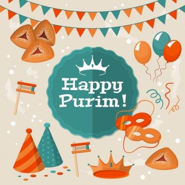 Jewish holiday Purim greeting card