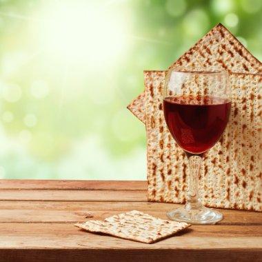 Matzo and wine for Jewish Passover
