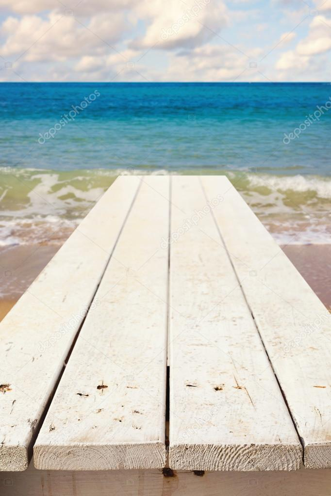 Nautical background with wooden deck