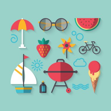 Icons set for summer holiday vacation
