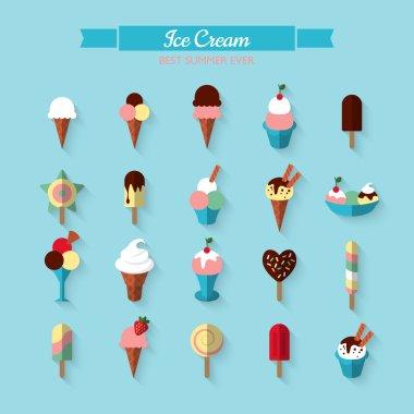 Flat icons of ice cream