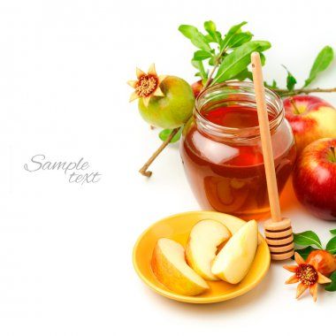 Honey and apples with pomegranate