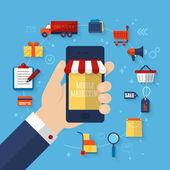 Fotografie marketingový koncept s ploché ikony