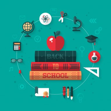 Apple and books flat icons