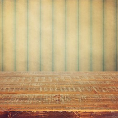 Retro background with wooden deck