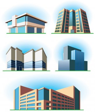Set images of vector buildings