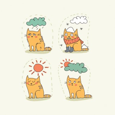 Doodle weather icon set with a cat