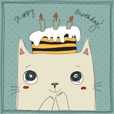 Cute cat, happy birthday card clip art vector