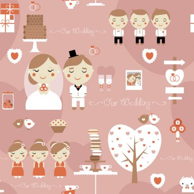 Seamless pattern of cute wedding