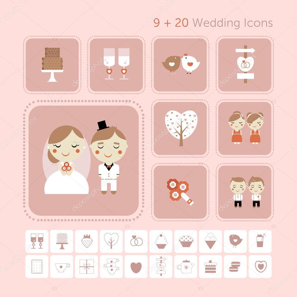 conjunto lindo vector de boda, amor y dulces — Archivo Imágenes ...