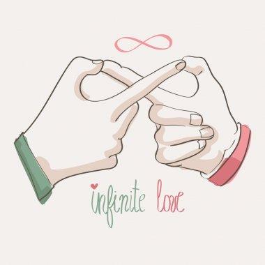 Doodle hands making infinity symbol. Infinite love.