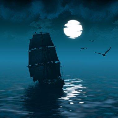 ship sailing and the moon