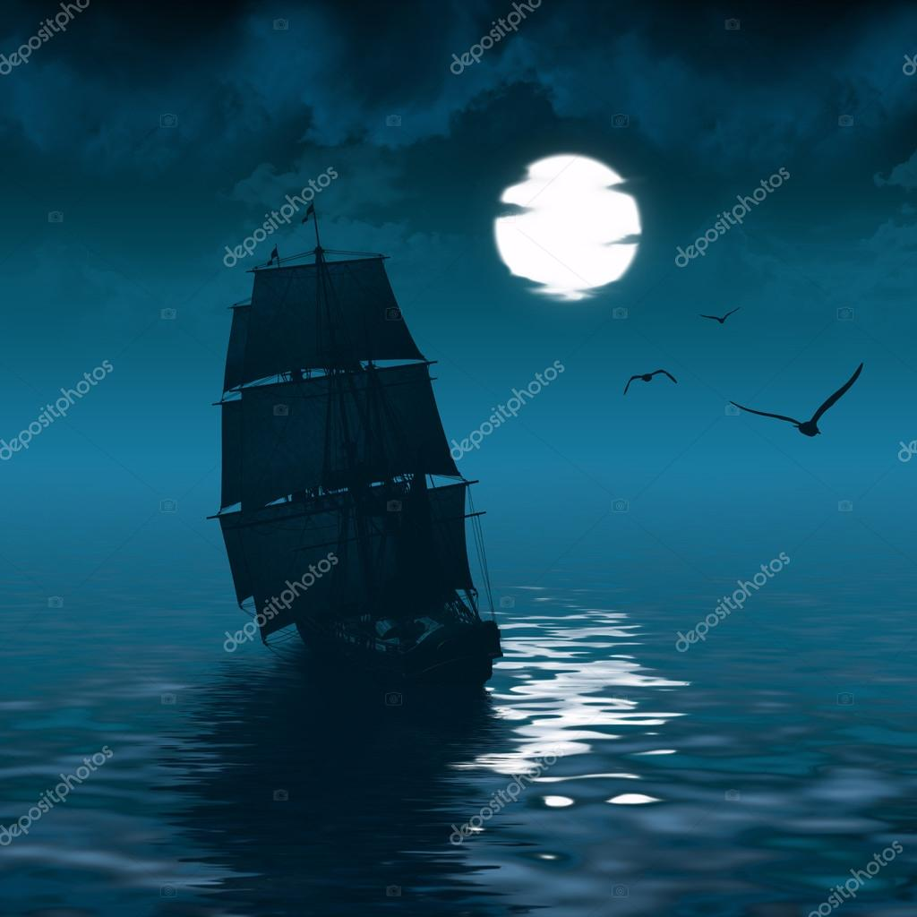 ship sailing and the moon