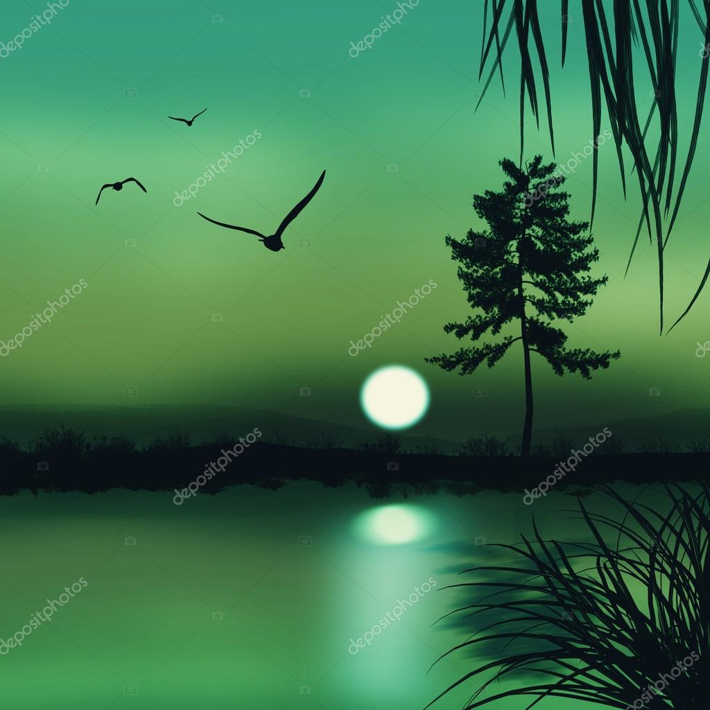 landscape in green color