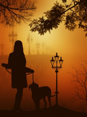 Silhouette of a girl with a dog