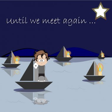Boats with candle lights giving a goodbye