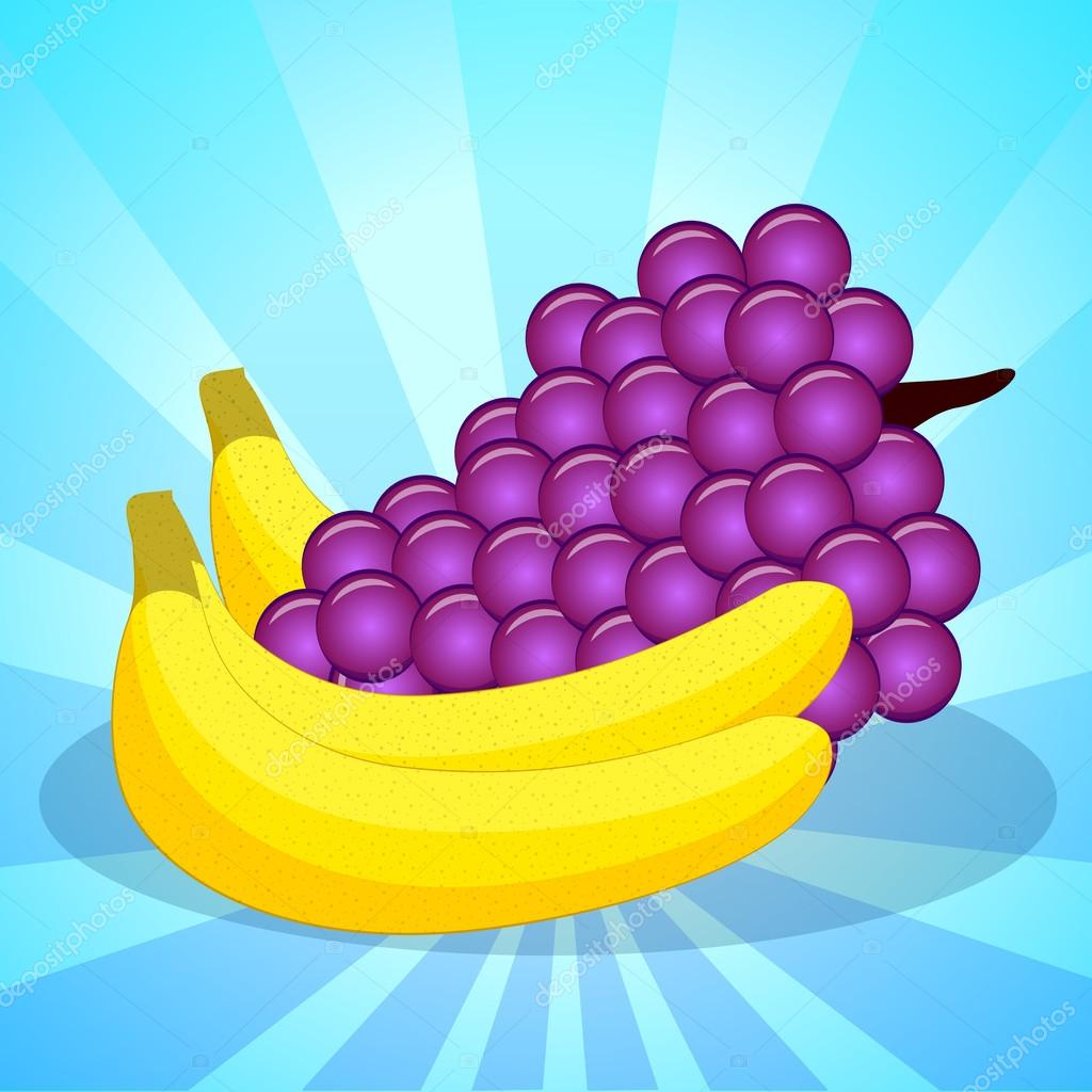 Fresh grapes and bananas