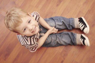 fashion cute child on the floor