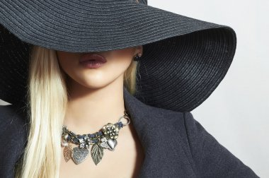 Beautiful Blond Woman in Black Hat. Elegance Beauty Girl.Spring Shopping. Accessories. Lady in Jewelry