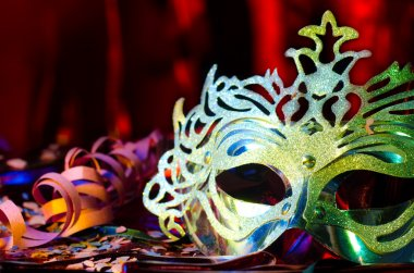 Carnival mask with silky background.