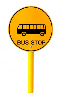 Bus stop sign on white background
