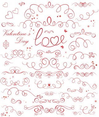 Set of valentine ribbons