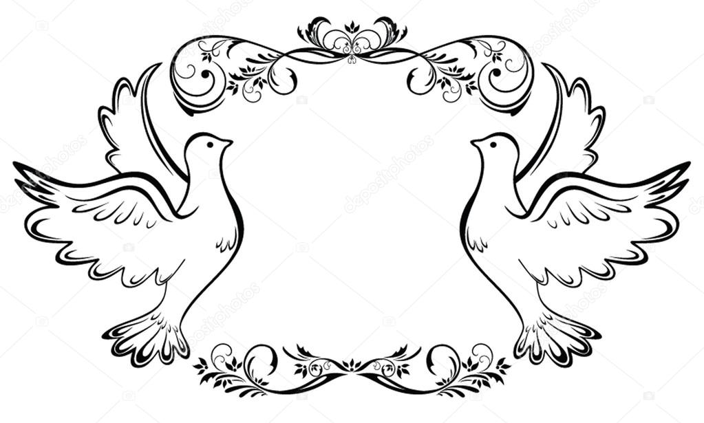 Вектор свадебные голуби
