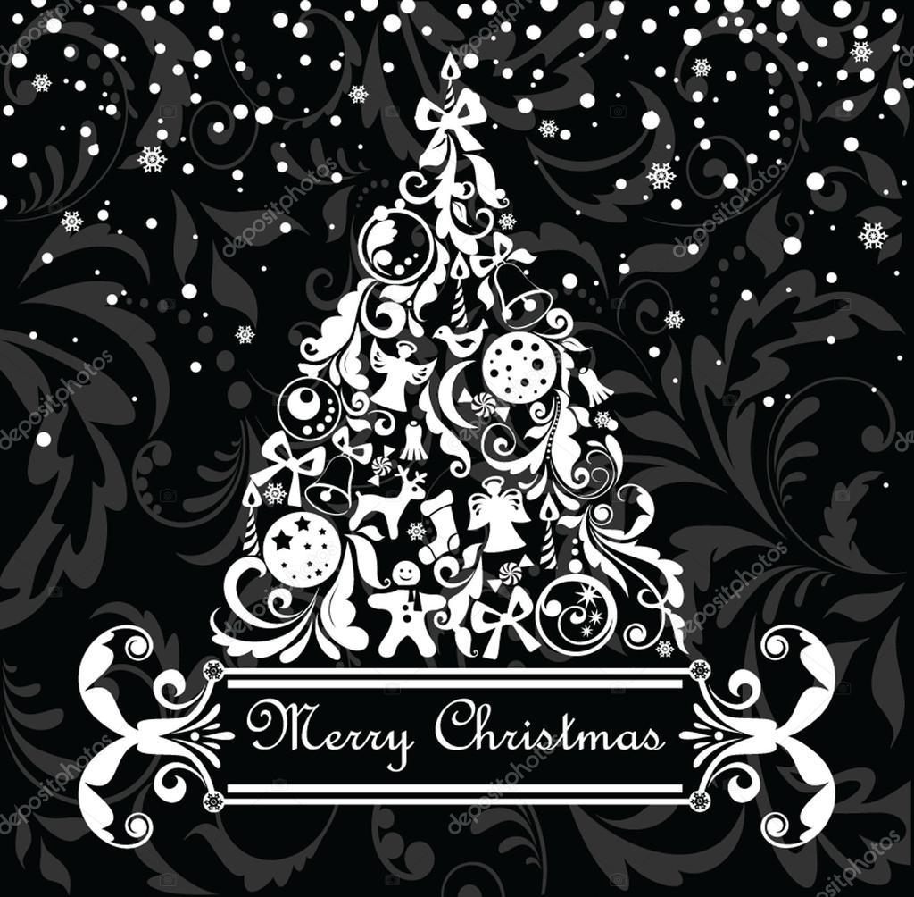 Черно белая новогодняя открытка