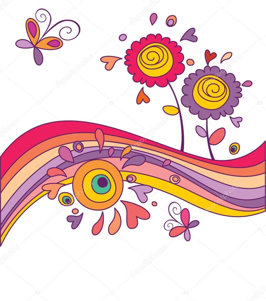 Funny card with rainbow