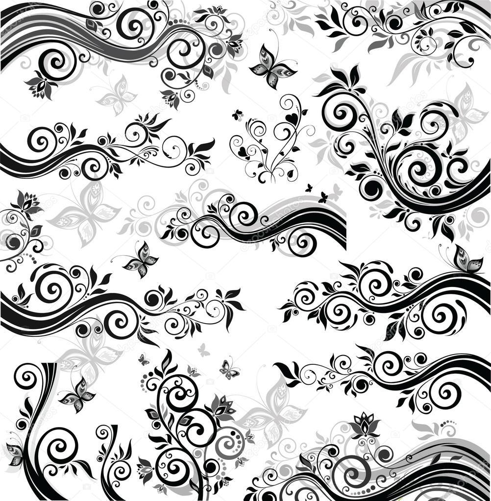 Bordi floreali decorativi vettoriali stock for Bordi decorativi