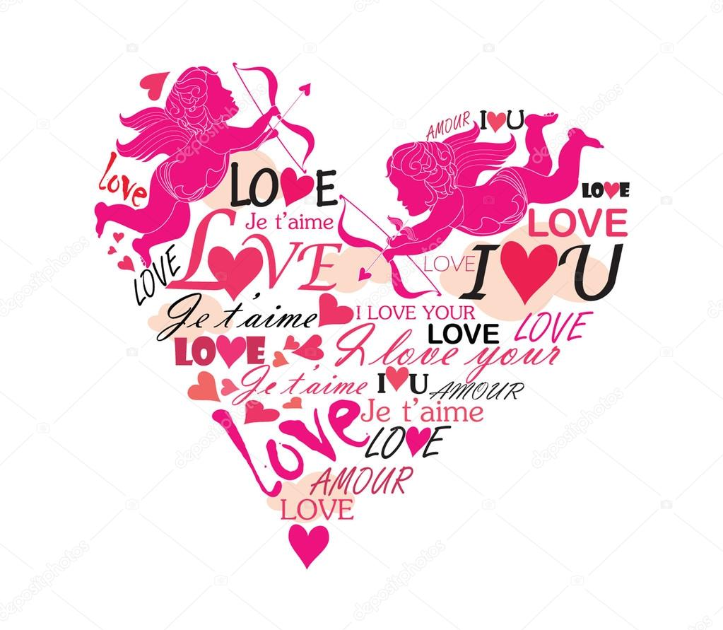 Love heart with cupid clipart vector