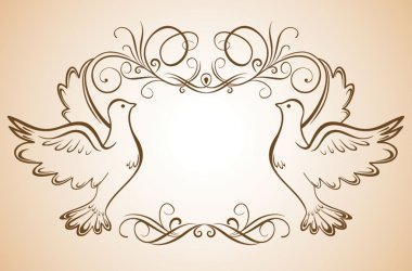 Frame with doves clip art vector