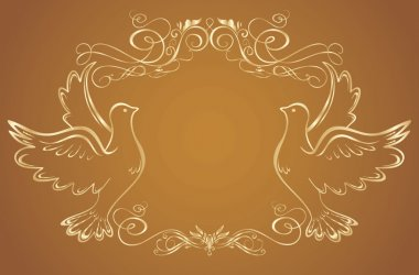 Gold frame with doves