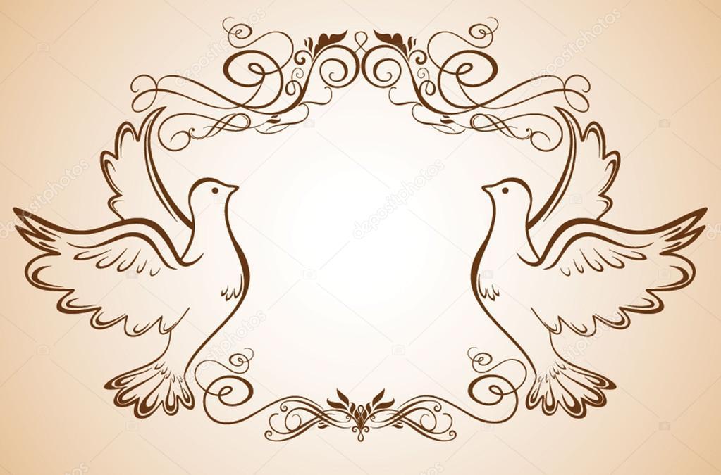 marco de boda con palomas — Vector de stock © antonovaolena #21195847