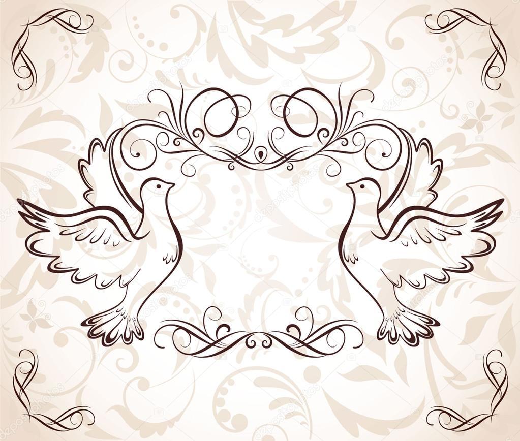 marco de boda con palomas — Vector de stock © antonovaolena #21206867