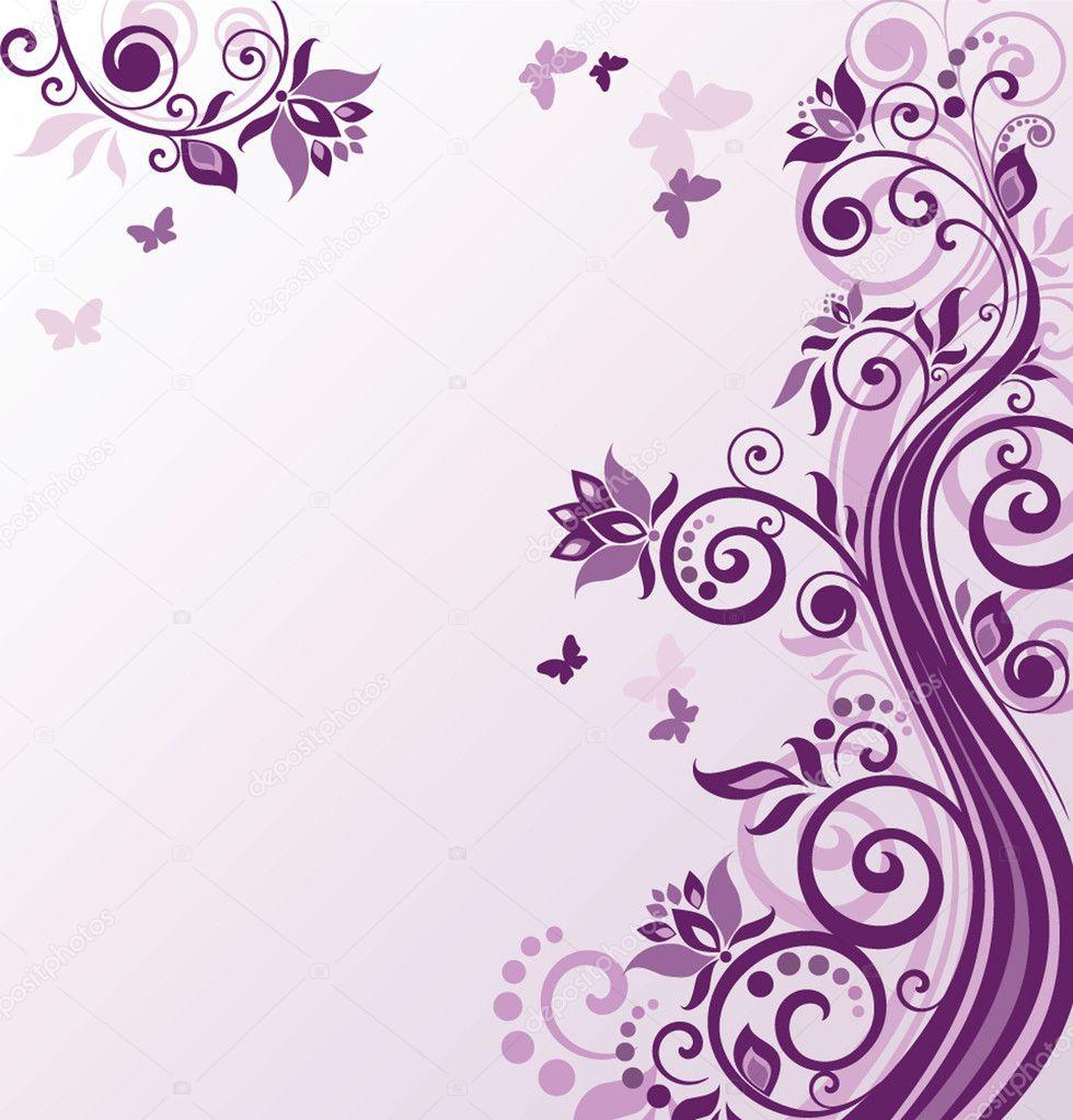 Floral violet background stock vector antonovaolena - Vintage karten basteln ...