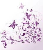 ročník květinové fialová karta