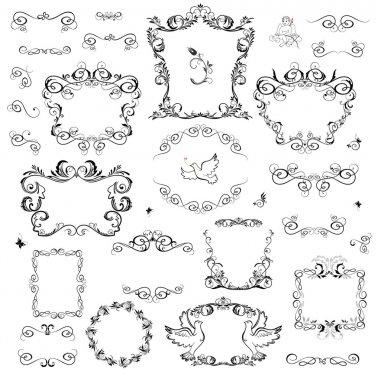 Set of decorative frame and design elements