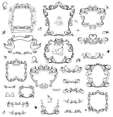 Set of vintage frame and design elements