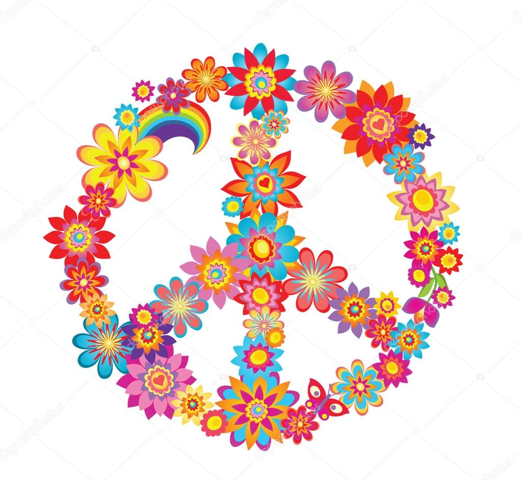 Colorful peace flower symbol