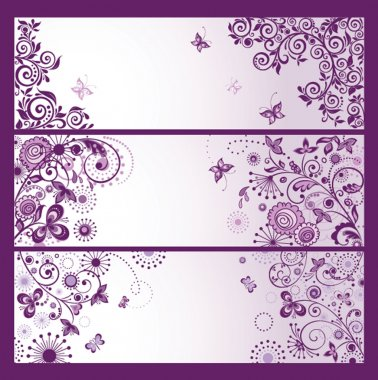 Set of horizontal violet floral greeting banners