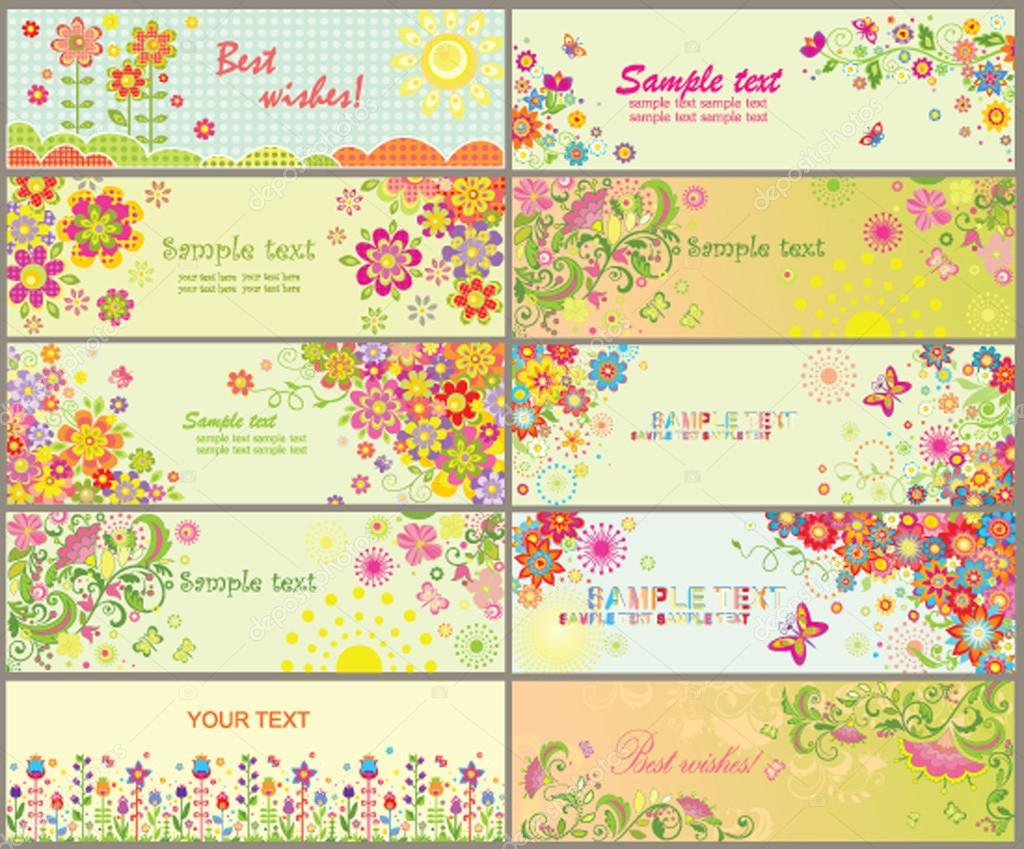Set of greeting horizontal cards