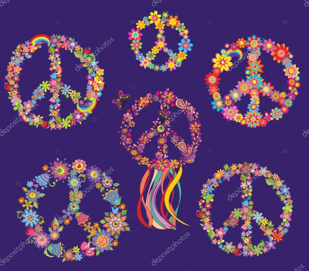 Set of Peace flower symbol